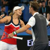 Ash Barty (L) and Matt Ebden celebrate their victory in the mixed doubles rubber over Spain at the Hopman Cup (Getty Images)