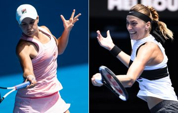 Ash Barty (L) and Petra Kvitova will go head-to-head in the Australian Open quarterfinals (Getty Images)