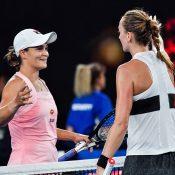 Ash Barty (L) congratulates Petra Kvitova at net after the Czech won their Australian Open 2019 quarterfinal (Getty Images)