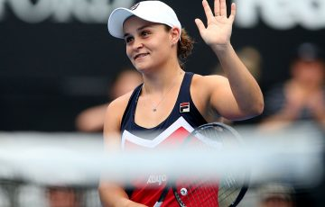 Ash Barty celebrates her semifinal victory over Kiki Bertens at the Sydney International (Getty Images)