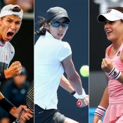 (L-R) Alexei Popyrin, Astra Sharma and Kimberly Birrell (Getty Images)