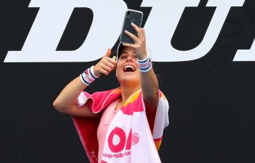 Kim Birrell snaps a selfie following her Australian Open second round victory.