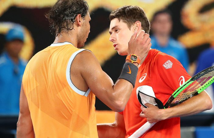 Alex De Minaur (R) and Rafael Nadal meet at net after their third-round match at the Australian Open (Getty Images)
