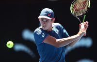 Alex De Minaur in action during his second-round win over Reilly Opelka at the Sydney International (Getty Images)