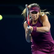 Destanee Aiava in action during her second-round loss to Naomi Osaka at the Brisbane International (Getty Images)