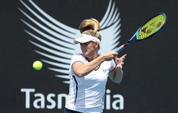 HOBART, AUSTRALIA - JANUARY 05: Belinda Woolcock of Australia plays a shot during her singles match against Madison Brengle of the USA during day one of the 2019 Hobart International at Domain Tennis Centre on January 05, 2019 in Hobart, Australia. (Photo by Robert Cianflone/Getty Images)