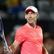 John Millman celebrates his victory over Marton Fucsovics in the second round of the Sydney International (Getty Images)