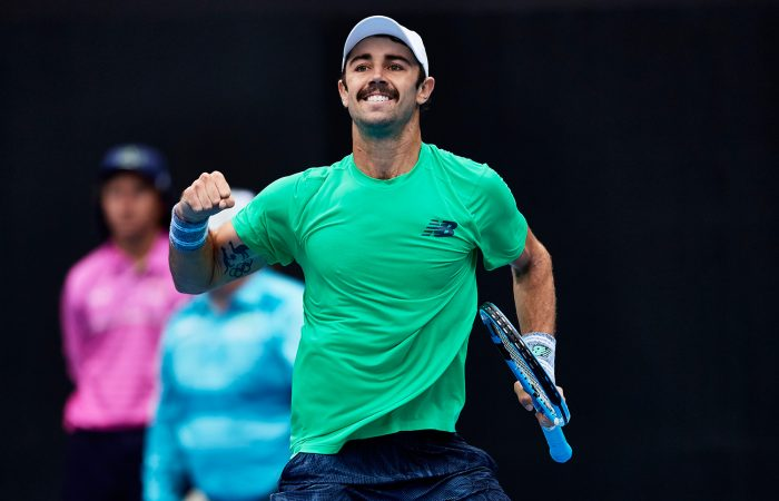 Jordan Thompson celebrates his first-round win over Adrian Mannarino at the Sydney International (Getty Images)