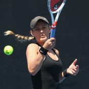 Kaylah McPhee in action during her first-round victory in qualifying at the Australian Open (Getty Images)