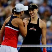 Ash Barty (L) shakes hands with Angelique Kerber following their Hopman Cup singles rubber in Perth (Getty Images)