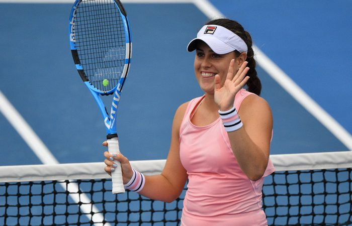 Kimberly Birrell celebrates her second-round win over No.29 seed Donna Vekic at the Australian Open (Getty Images)