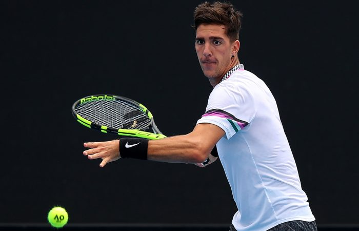 Thanasi Kokkinakis in action during his second-round win over Sebastian Ofner in Australian Open qualifying (Getty Images)