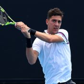 Thanasi Kokkinakis in action at Melbourne Park in the opening round of Australian Open 2019 qualifying (Getty Images)