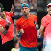 (L-R) Thanasi Kokkinakis, James Duckworth and John Millman (Getty Images)
