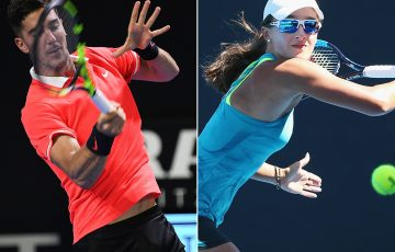 Thanasi Kokkinakis (L) and Arina Rodionova are the highest-ranked male and female Australians taking part in Australian Open 2019 qualifying (Getty Images)