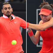 Nick Kyrgios (L) and Ajla Tomljanovic scored first-round wins at the Brisbane International (photos: Getty Images, Tennis Photo Network)