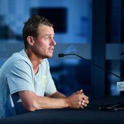 Lleyton Hewitt speaks to the media at Memorial Drive ahead of this weekend's Davis Cup tie against Bosnia & Herzegovina (Getty Images)