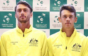 John Millman (L) and Alex De Minaur will represent Australia in the singles rubbers on  Day 1 of Australia's Davis Cup tie against Bosnia & Herzegovina (Getty Images)