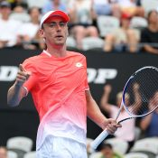 John Millman in action in the first round of the Sydney International against Frances Tiafoe (Getty Images)