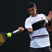 Alexei Popyrin in action during his first-round win over Mischa Zverev at the Australian Open (Getty Images)