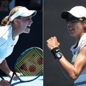 Zoe Hives (L) and Astra Sharma in action during their first-round matches at the Australian Open (Getty Images)