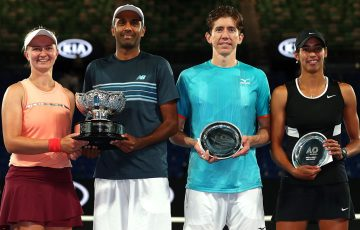 (L-R) Barbora Krejcikova, Rajeev Ram, John-Patrick Smith and Astra Sharma after the Australian Open mixed doubles final (Getty Images)
