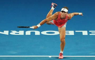 Sam Stosur serves during the Australian Open women's doubles semifinals (Getty Images)