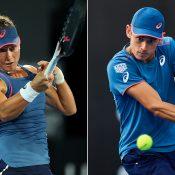 Sam Stosur (L) and Alex De Minaur were first-round winners at the Sydney International on Monday (Getty Images)