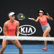Sam Stosur (L) and Zhang Shuai in action during the women's doubles event at Australian Open 2019 (Getty Images)