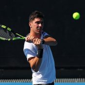 Thanasi Kokkinakis in action in the final round of Australian Open qualifying (Getty Images)