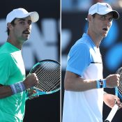 Jordan Thompson (L) and Matt Ebden in action during their first-round victories at Australian Open 2019 (Getty Images)