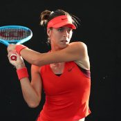 Ajla Tomljanovic in action during her second-round victory over Johanna Konta at the Brisbane International (Getty Images)