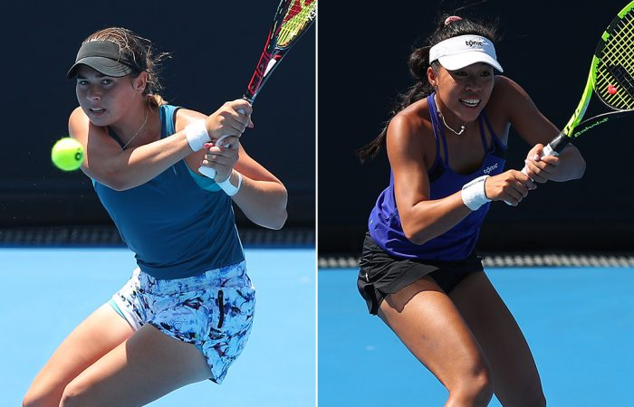 Isabelle Wallace (L) and Lizette Cabrera in action at Australian Open qualifying (Getty Images)