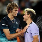 Alex Bolt (R) congratulates Alexander Zverev at the net after their third-round match at the Australian Open (Getty Images)