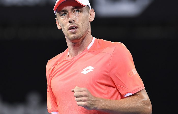 BRISBANE, AUSTRALIA - DECEMBER 31: John Millman of Australia reacts in his match against Tennys Sandgren of USA during day two of the 2019 Brisbane International at Pat Rafter Arena on December 31, 2018 in Brisbane, Australia. (Photo by Albert Perez/Getty Images)