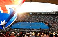 SYDNEY, AUSTRALIA - JANUARY 13: A general view of Ken Rosewall Arena as Alex de Minaur of Australia competes in his Men's Singles Final match against Daniil Medvedev of Russia during day seven of the 2018 Sydney International at Sydney Olympic Park Tennis Centre on January 13, 2018 in Sydney, Australia. (Photo by Zak Kaczmarek/Getty Images)