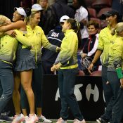 The Australian Fed Cup team celebrates its victory over the US in Asheville, North Carolina in February 2019 (Getty Images)