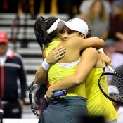 Ash Barty (R) embraces Priscilla Hon after the duo won the doubles rubber to give Australia a Fed Cup victory over the United States (Getty Images)