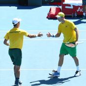 Jordan Thompson (L) and John Peers celebrate during their victory in the doubles rubber of the Australia v Bosnia & Herzegovina Davis Cup tie in Adelaide (Getty Images)
