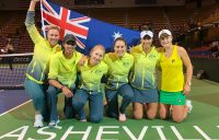 Australia's victorious Fed Cup team in Asheville, North Carolina.