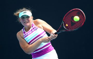 MELBOURNE, AUSTRALIA - JANUARY 20:  Charlotte Kempenares-Pocz of Australia plays a backhand in her first round match against Stefania Rogozinska Dzik of Poland during day seven of the 2019 Australian Open at Melbourne Park on January 20, 2019 in Melbourne, Australia.  (Photo by Michael Dodge/Getty Images)