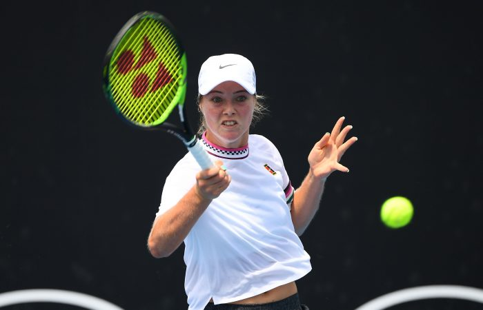 MELBOURNE, AUSTRALIA - JANUARY 20:  Olivia Gadecki of Australia plays a forehand in her first round juniors match against Funa Kozaki of Japan during day seven of the 2019 Australian Open at Melbourne Park on January 20, 2019 in Melbourne, Australia.  (Photo by Quinn Rooney/Getty Images)