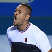 Nick Kyrgios celebrates his second-round victory over Rafael Nadal at the ATP tournament in Acapulco  (Getty Images)