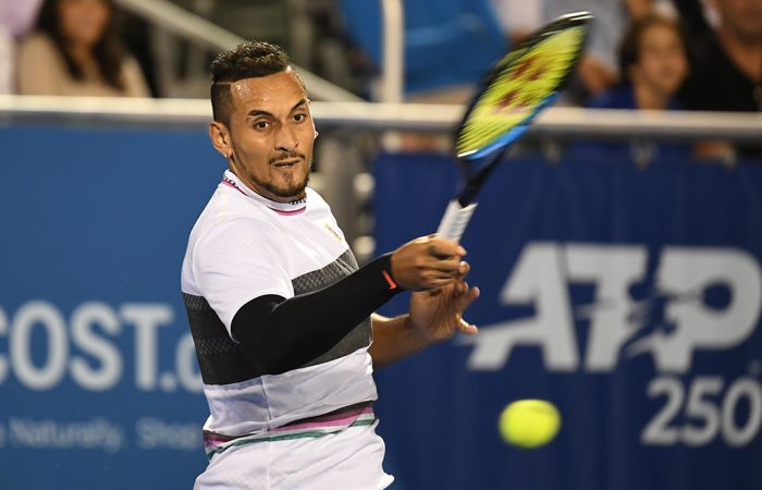 Nick Kyrgios in action against John Millman in the first round of the ATP Delray Beach Open (photo: Peter Staples/ATPTour.com)