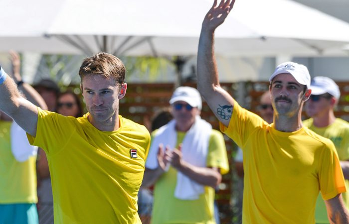 John Peers (L) and Jordan Thompson celebrate their victory in the doubles rubber of the Australia v Bosnia and Herzegovina Davis Cup tie in Adelaide (Getty Images)