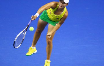 WOLLONGONG, AUSTRALIA - APRIL 21:  Ashleigh Barty of Australia serves in her match against Quirine Lemoine of the Netherlands during the World Group Play-Off Fed Cup tie between Australia and the Netherlands at the Wollongong Entertainment Centre on April 21, 2018 in Wollongong, Australia.  (Photo by Mark Nolan/Getty Images)