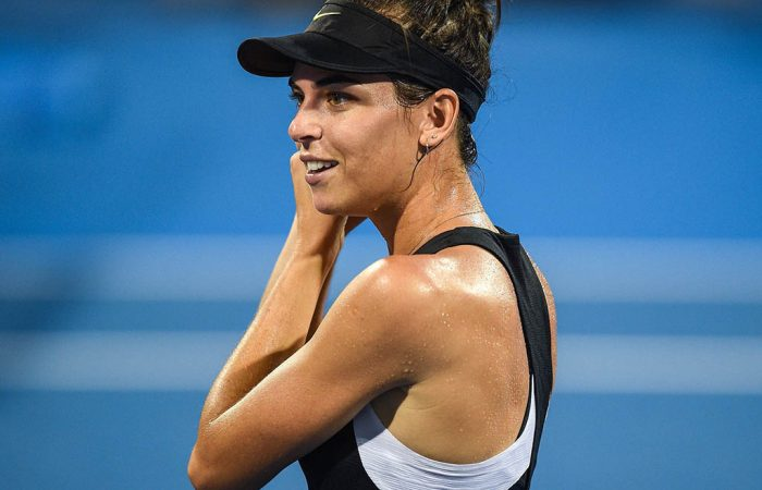Ajla Tomljanovic of Australia reacts after defeating Tamara Zidansek of Slovakia during their semi-final match at the Thailand Open tennis tournament in Hua Hin on February 2, 2019. (Photo by Chalinee THIRASUPA / AFP)        (Photo credit should read CHALINEE THIRASUPA/AFP/Getty Images)