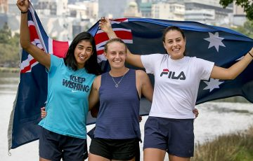 In this handout image provided by Tennis Australia, (L-R) Australian tennis players Astra Sharma, Zoe Hives and Kimberly Birrell pose during day two of the 2019 Australian Open on January 15, 2019 in Melbourne, Australia. (Photo by Fiona Hamilton/Tennis Australia via Getty Images)