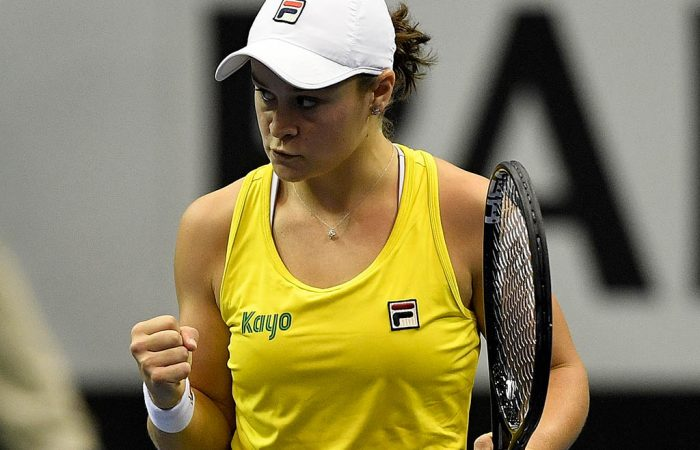ASHEVILLE, NORTH CAROLINA - FEBRUARY 09: Ashleigh Barty of Australia reacts during her win over Sofia Kenin of USA during the first round of the 2019 Fed Cup at U.S. Cellular Center on February 09, 2019 in Asheville, North Carolina. (Photo by Grant Halverson/Getty Images)