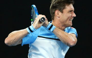 MELBOURNE, AUSTRALIA - JANUARY 16: Matthew Ebden of Australia plays a backhand during his second round match against Rafael Nadal of Spain during day three of the 2019 Australian Open at Melbourne Park on January 16, 2019 in Melbourne, Australia. (Photo by Cameron Spencer/Getty Images)